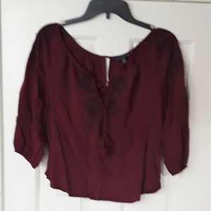 American Eagle Outfitters XS Wine/Mauve Shirt